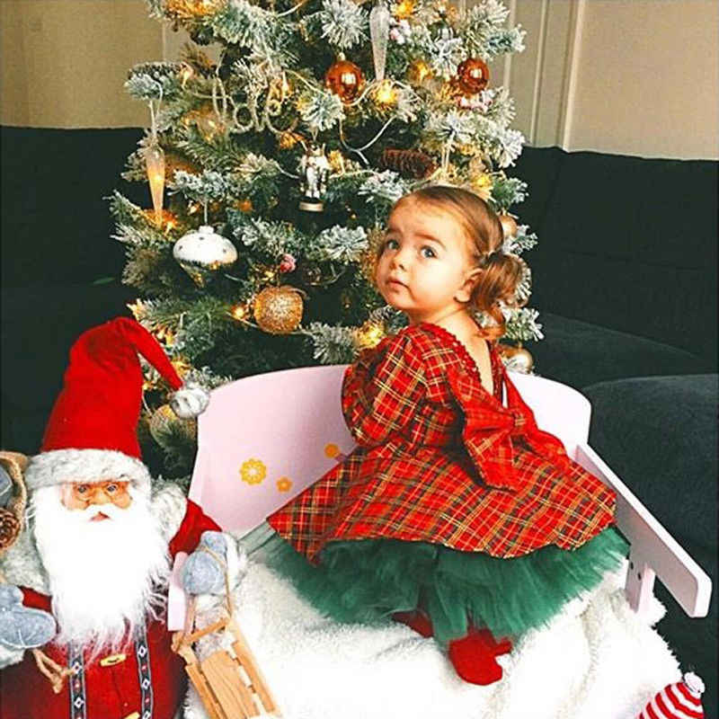 ec83014bd89c 2pcs set Plaid Christmas Dress For Girl Princess Kid Baby Girl Tulle Tutu  Dresses Xmas