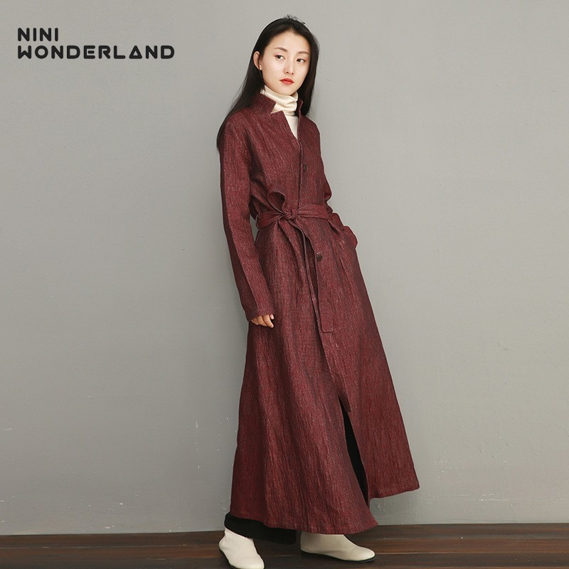 NINI WONDERLAND 2019 Spring Slim Trench Coat Women Solid Color Fashion Long Coats Female Linen Cotton