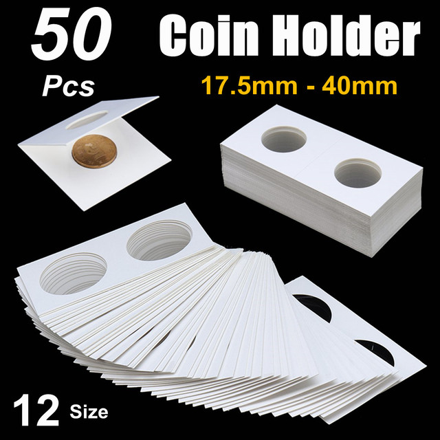 50PCS 175 40mm Square Cardboard Coin Holder Supplies Album Collection Lighthouse Stamp Cover Case Storage