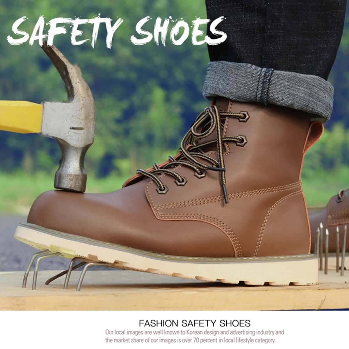 Fashion Men Safety Work Boots Casual Shoes Men Motorcycle Boots anti-smashing Anti-puncture Ankle Knight Safety Shoes Booties