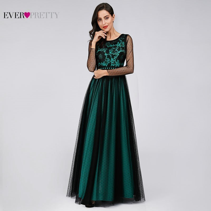 Elegant Satin   Prom     Dresses   Long Ever Pretty Appliques Lace Long Sleeve O-Neck A-Line Women Party Gowns 2019 Mezuniyet Elbiseleri