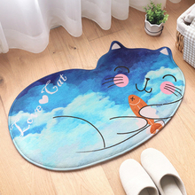 Washable Rug Bath Mat Bathroom Mat Tea Table Bibulous Antiskid False Sleeping Cat Kitchen Bathroom Products Rug Doormat christmas snow night tree antiskid bath rug