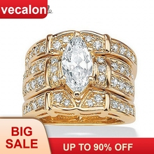 Vecalon Classic Jewelry Marquise Cut 2ct 5A Zircon cz  Wedding Band Ring Set for Women 14KT Yellow Gold Filled Enagement ring
