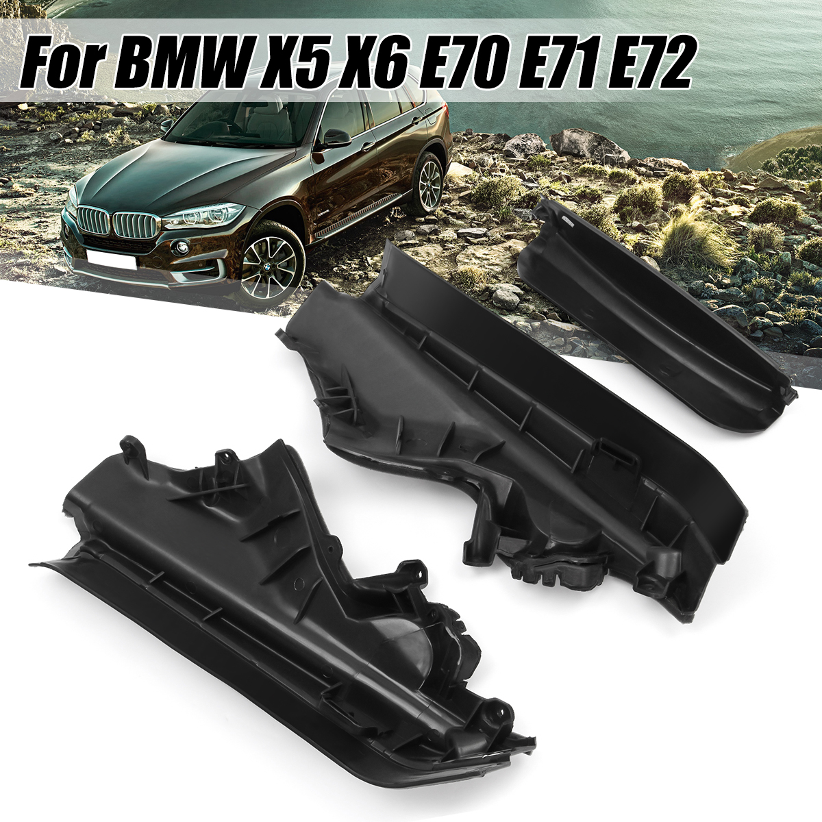Black Plastic 3pcs Engine Upper Compartment Partition Panel Set For BMW X5 X6 E70 51717169419 51717169420 51717169421