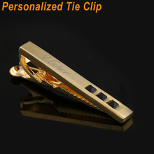 Personalized Tie Clip For Mens Gifts Customized Engraved Cufflinks Clips Set Wedding Groom Gold Custom bar