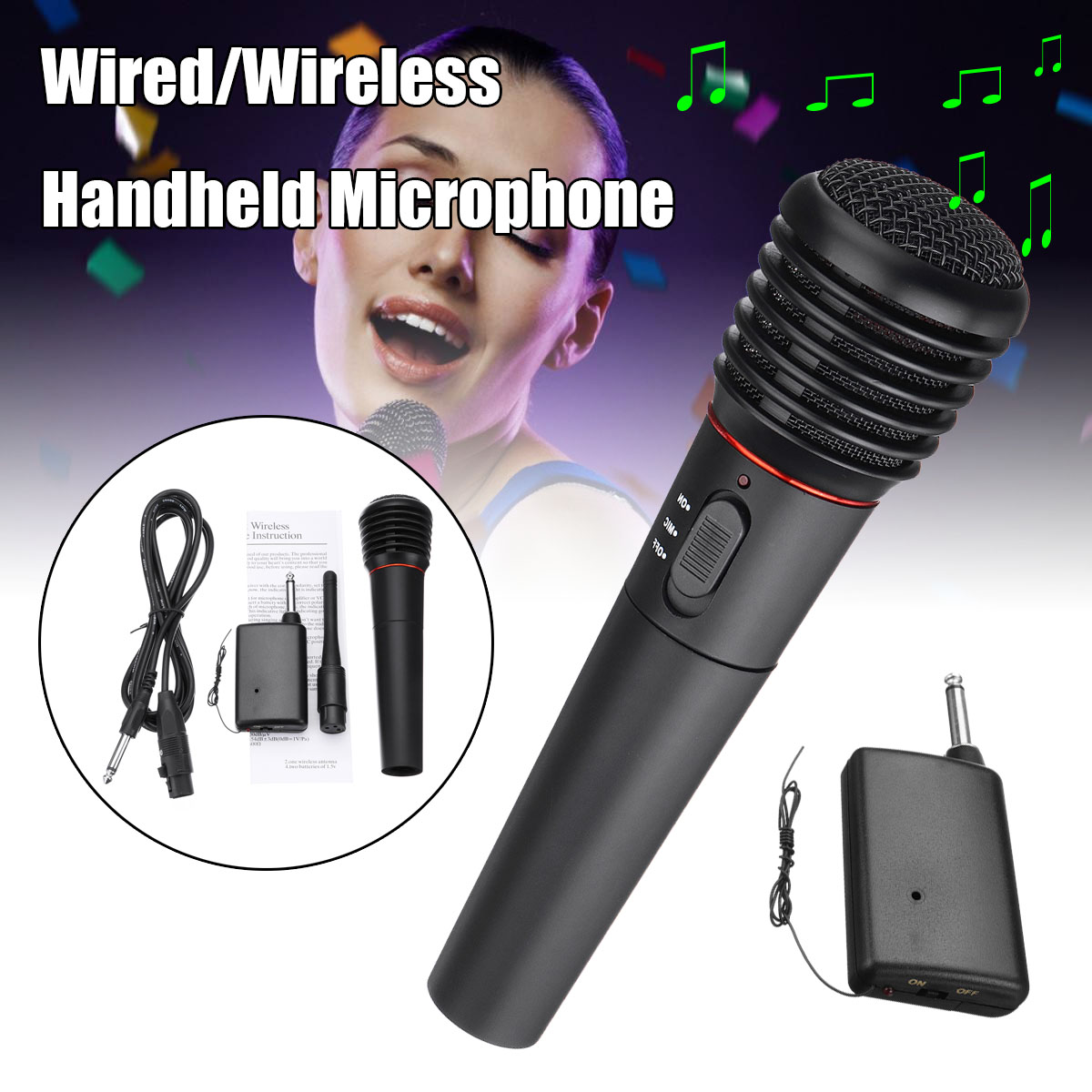 Universal 2in1 Wired Wireless Handheld Microphone Mic Dynamic Cordless For Karaoke KTV Public Speaking Stage Performance