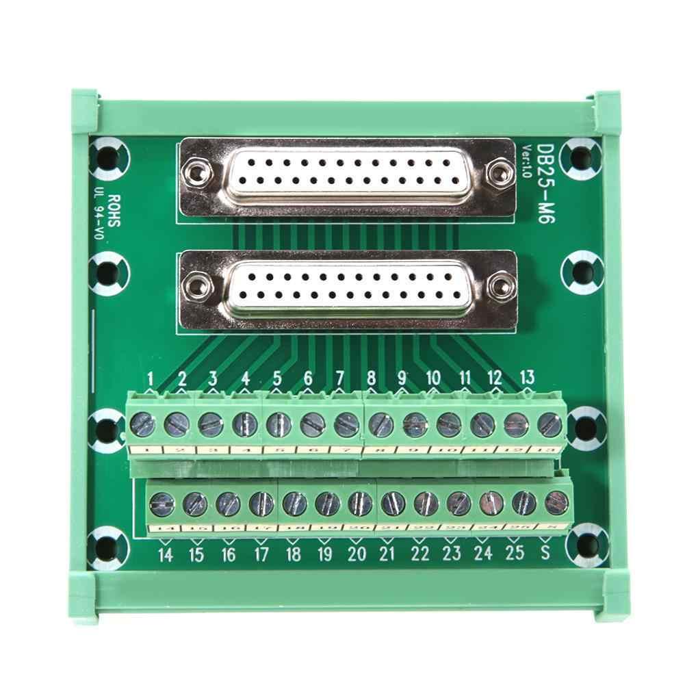 DB25 M6 двойная Женская головка DIN рейка монтажный интерфейсный модуль Клеммная