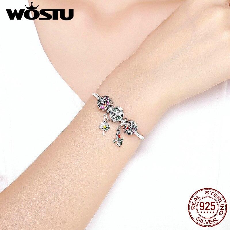 WOSTU 2019 Nieuwe 925 Sterling Zilver Kleurrijke Bos Kralen Charme Armbanden & Armband Voor Vrouwen Unieke Delicate Sieraden Gift CQB818-in Armring van Sieraden & accessoires op  Groep 2