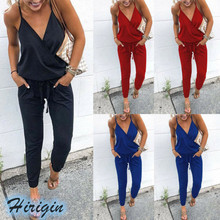Summer Jumpsuits 2019 New Casual Women Solid Sleeveless V-Neck High Waist Loose Strap Jumpsuit