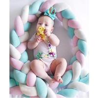 Infant Newborn Baby Bed Bumper Weaving Rope Knitting Crib Protector Safety Crashproof Room Decoration Photography Props
