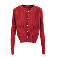 PEONFLY Shinny New 2019 Autumn Women Knitted Cardigans Delicate Red Black Sweater Female Fashion Button Casual Coat Ladies