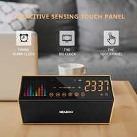 FM Radio Smart Clock Bluetooth Capacitive Sensing Touch Panel Alarm Clock LED Wireless TF Card AUX