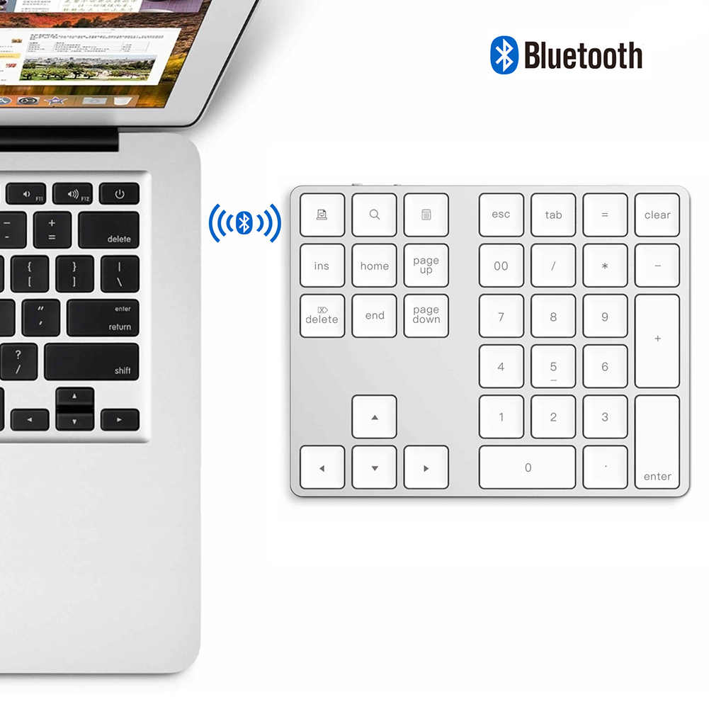 34 Tombol Nirkabel Bluetooth Mini Keyboard Numerik untuk Apple Android untuk Macbook PC Desktop Laptop Aluminium Alloy Digital ~