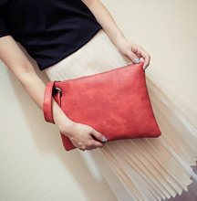 Fast shipping Fashion Solid Women's message bag Leather girl pure color Envelope Bag Clutch Evening Bag Female Clutches Handbag brown leather look solid color clutch bag