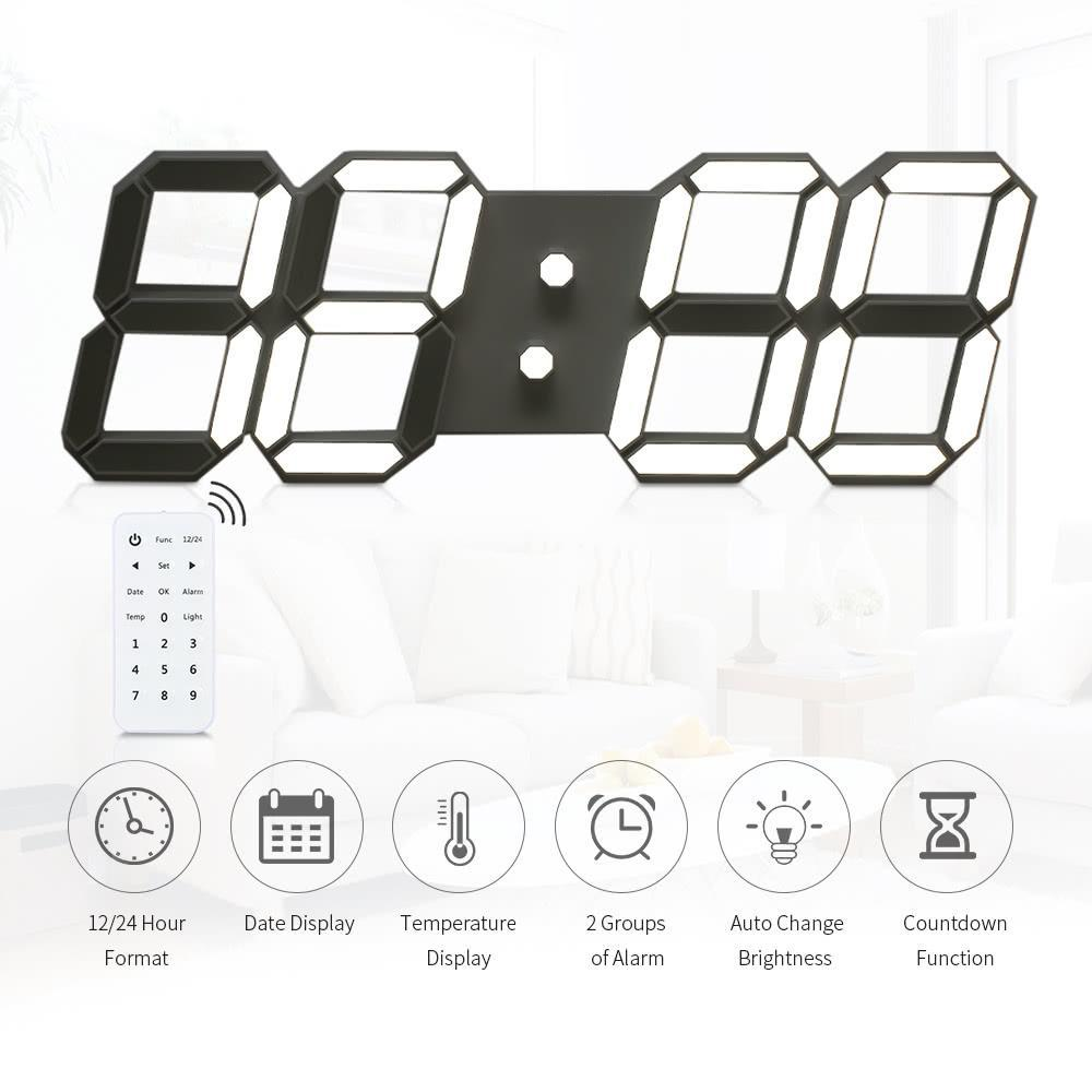 Adeeing 3D Large Black Shell Digital Wall Clock With Remote Control European Regulation