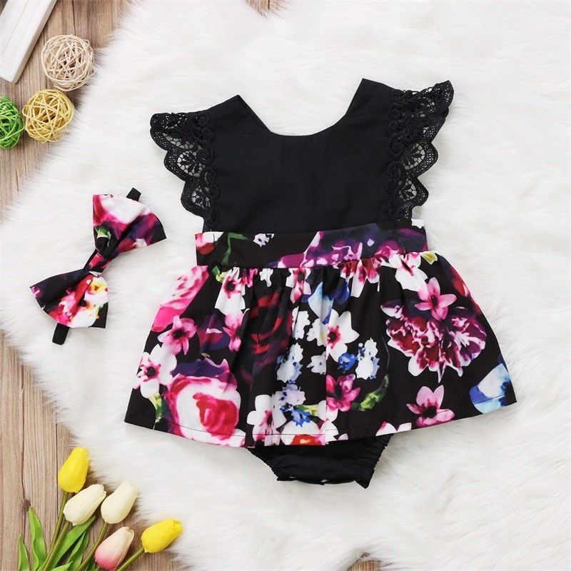 Модная Милая одежда для маленьких девочек, одинаковые кружевные комбинезоны без рукавов с цветочным принтом, боди, платье, комплект одежды, От 0 до 6 лет