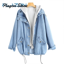 купить 2 Pieces Button Up Denim Jacket Hooded 4XL Women Jean Plus Size Autumn Women Coat 2018 New Fashion Casual Jean Coat Womens по цене 1627.63 рублей