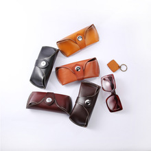 New Hand-made Cortex Eyeglasses Box Retro-high-grade Leather Cover Cowhide Eyewear Cases & Bags BR5066