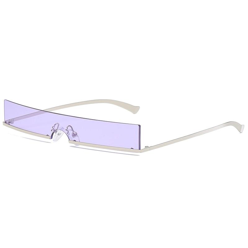 Rectangle Sunglasses Shades Futuristic Rimless Candy-Color Trendy Designer Women Brand