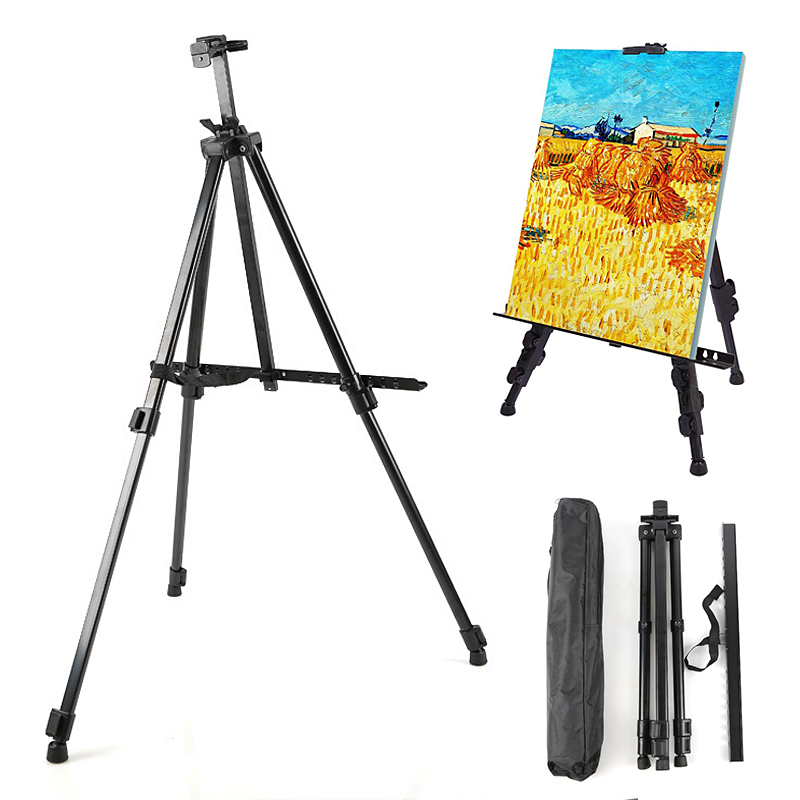 Easel Stand, Artist Easels for Display, Aluminum Metal Tripod Field Easel with Bag for Table-Top/Floor/Flip Charts, Black ArtEasel Stand, Artist Easels for Display, Aluminum Metal Tripod Field Easel with Bag for Table-Top/Floor/Flip Charts, Black Art