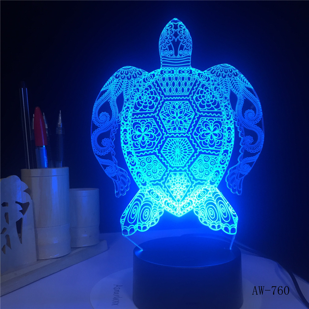 Sea Turtles 3D Lamp LED Touch Light Colorful Lamp Birthday Party Decoration Figurines Table Lamp For Kid's Toys Gift AW-760