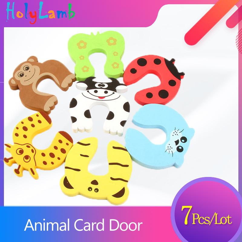 7Pcs/Lot  Cute Animal Security Card Door Stopper Child Safety Protection Baby Newborn Care Child Lock Protection From Children