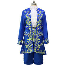 Carnival Clothing Movie Beauty And The Beast Costume Cosplay Blue Gentleman Outfit Men Halloween Party Clothes
