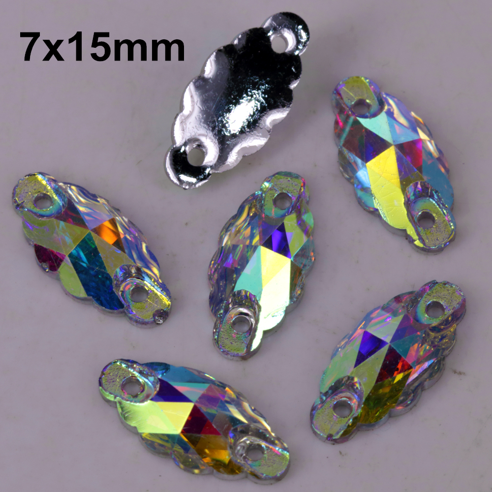 100pcs/lot 7*15mm Crystal Ab Clear Ab Wave Marquise Resin Sewing On Stones Flat Back Sew On Stones Loose Rhinestones