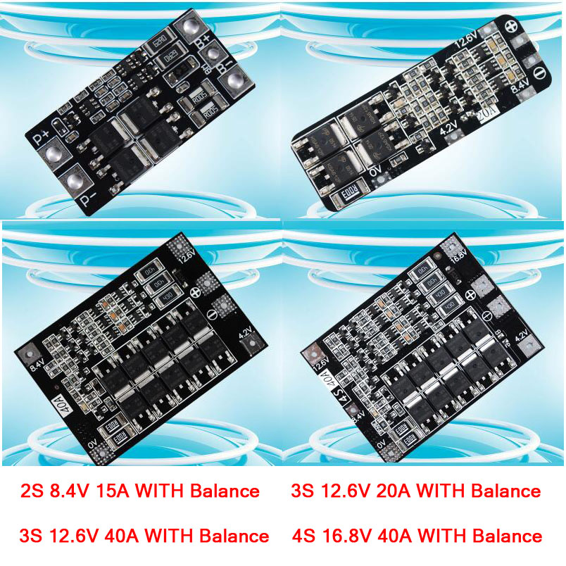 2S 3S 4S 3.7V 18650 Lithium Li-ion Battery Protection Board W Balance 12.6V 16.8V 15A / 20A/ 40A BMS for drill / Starter motor image