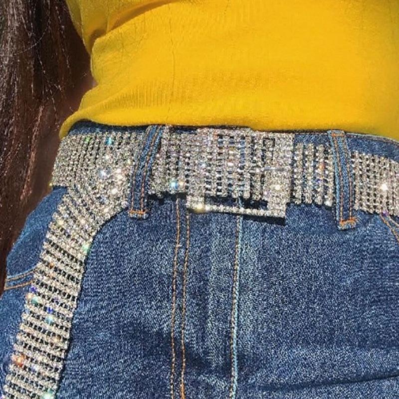 New 2019 Women 10 Rows Full Rhinestone Shiny Waistband Casual Party Dress Belt  Chain 17465cb35530