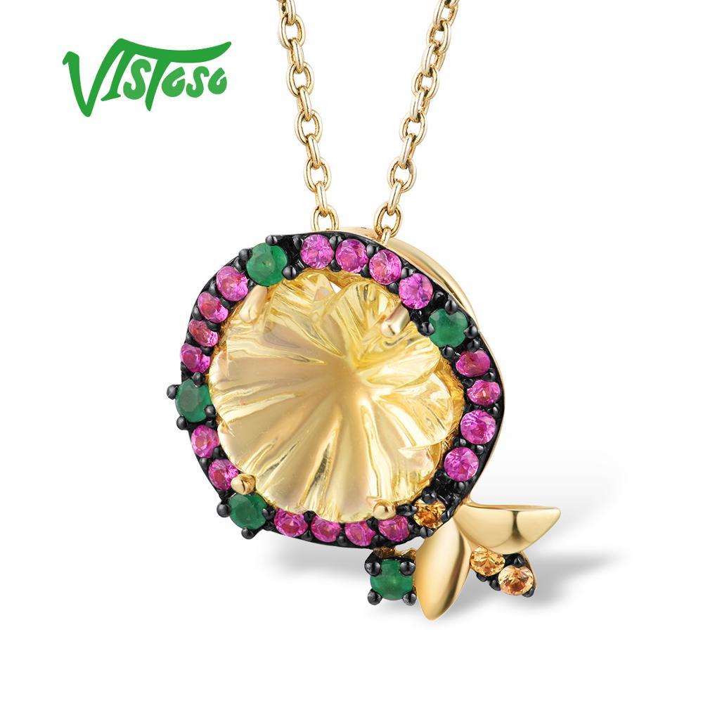 VISTOSO Gold Pendant For Women Pure 14K 585 Yellow Gold Delicate Flower Bee Pink Sapphire Diamond