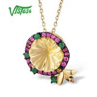 VISTOSO Gold Pendant For Women Pure 14K 585 Yellow Gold Delicate Flower Bee Pink Sapphire Diamond Quartz Pendant Fine Jewelry