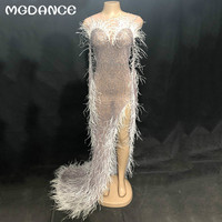 New Women Sexy Mesh Long Dress White Feather Sparkling Crystals Nightclub Birthday Party Stage Wear Singer Dancer Dresses