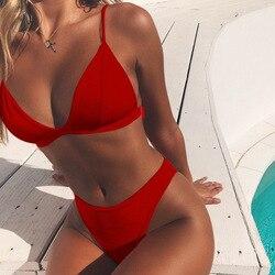 Hirigin, комплект бикини, новинка 2019, женский купальник, чистый цвет, пуш-ап, мягкий купальник, бикини, женский купальник, летняя пляжная одежда 5