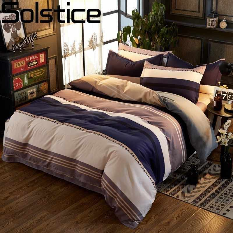 Solstice Home Textile Navy Blue Eye Yellow Bedding Set Kid Children Boy Girls King Queen Single Duvet Cover Pillowcase Bed Sheet