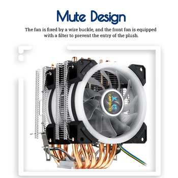 Dual Tower 6 Heatpipe CPU Cooler for Intel 775/1150/1151/1155/1156/1366 All for AMD 4Pin RGB LED Cooling Fan Quiet Heatsink
