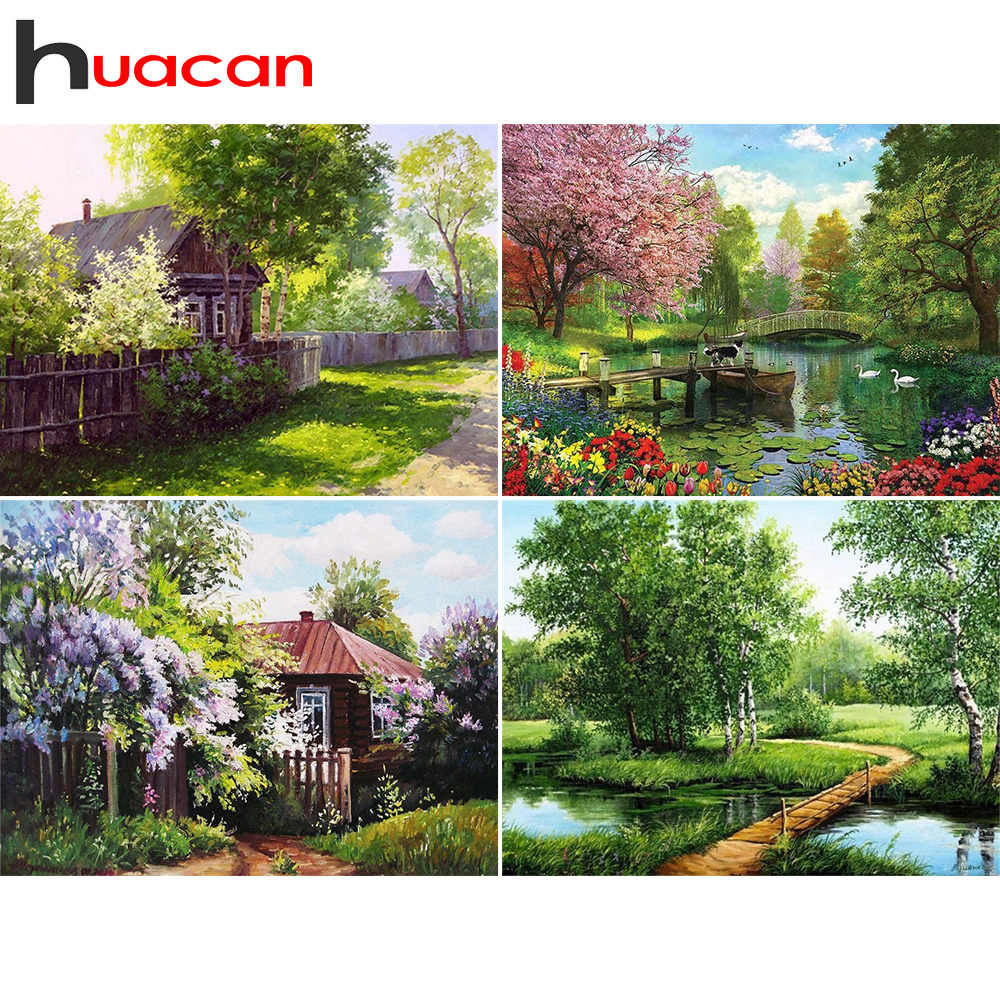 Huacan Diamond Embroidery Sale Scenery Diamond Painting Full Square Landscape Rhinestones Pictures Cross Stitch Mosaic House