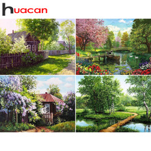 Free Shipping DIY Landscape Diamond Embroidery Cross Stitch Crystal Painting Mosaic Forest House Patterns Rhinestone