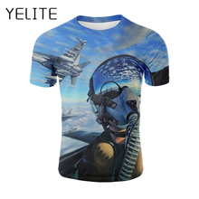 YELITE Gas Mask Tshirt Print Vintage T Shirts Black Streetwear Mens T-shirt Pilot Flew The Plane Design Summer Clothes
