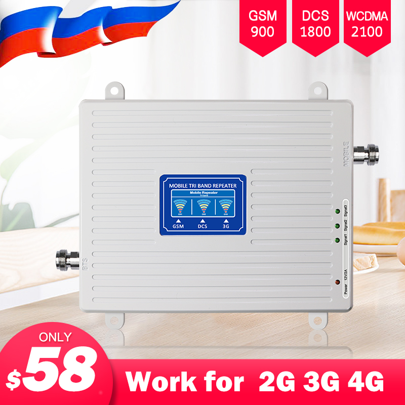 2G 3G 4G Cell Phone Cellular Booster Signal Booster GSM 900 DCS LTE 1800 WCDMA 2100 Mobile Signal Repeater Amplifier Tri Band