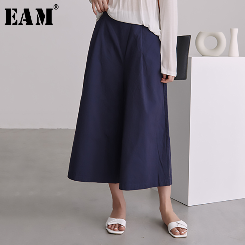 [EAM] 2019 New Spring Summer High Elastic Waist Loose Blue Brief   Wide     Leg     Pants   Women Trousers Fashion Tide All-match JS718