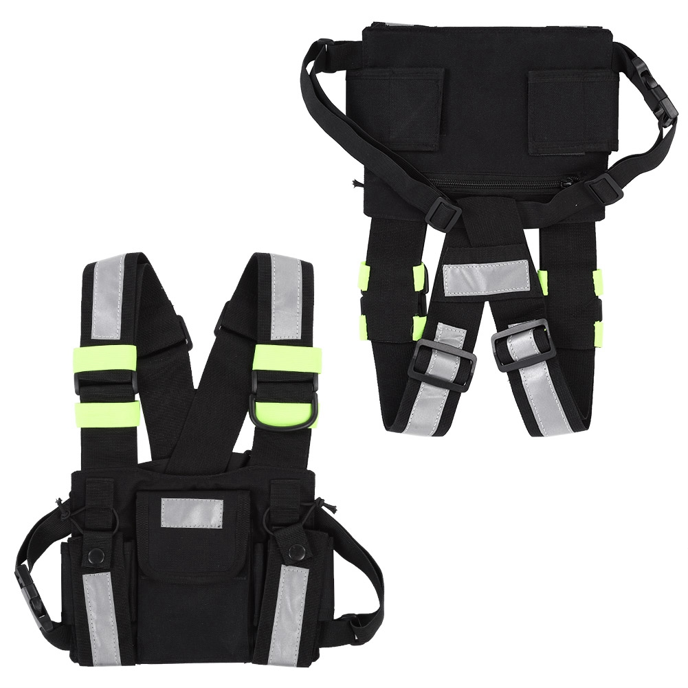 Yellow Green Reflective Walkie-talkie Vest With Adjustable Shoulder Strap Nylon Pouch Walkie-talkie Chest Front Pack