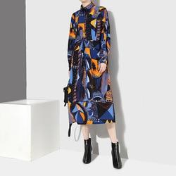 [EAM] 2019 New Autumn Winter Lapel Long Sleeve Blue Pattern Prited Loose Large Size Pocket Dress Women Fashion Tide JI485 3