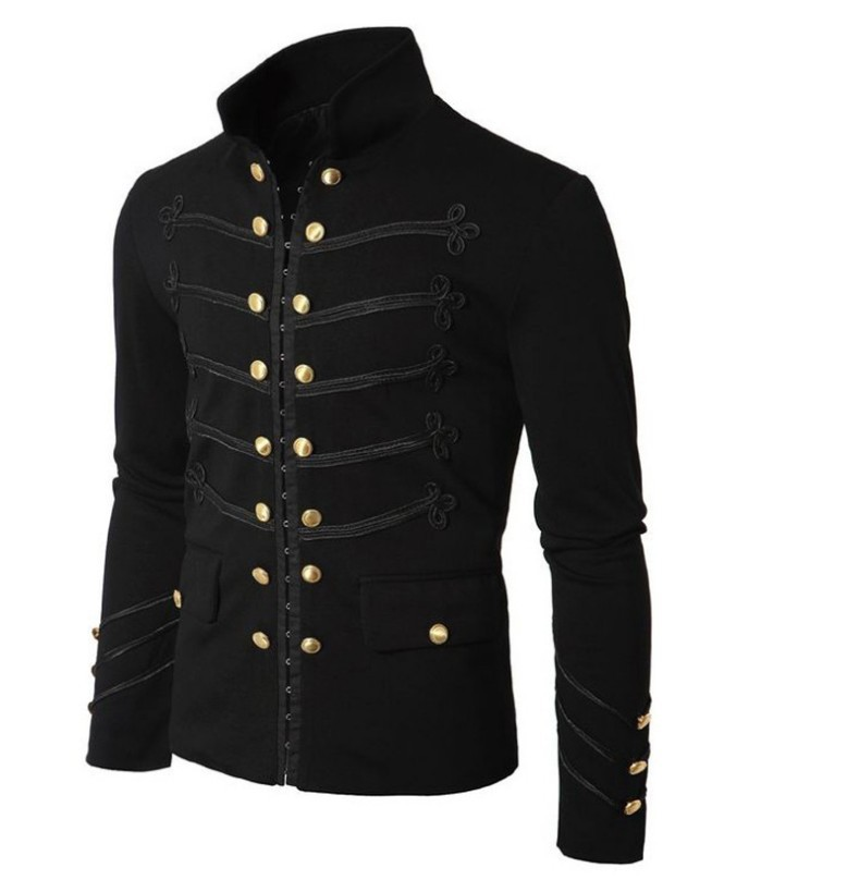 Men Vintage Military Jacket Gothic Military Parade Jacket Embroidered Buttons Solid Color Top Retro Uniform Cardigan Outerwear