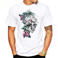 2019 summer best-selling new novelty design flower skull  printing mens shirt high quality fashion personality short sleeve