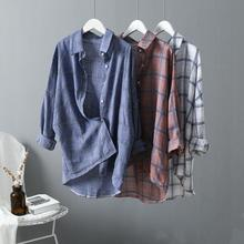 Qiukichonson Plaid Casual Blouse Women Low High Design Spring Atumn Ladies Tops Long Sleeve Plus Size Shirts