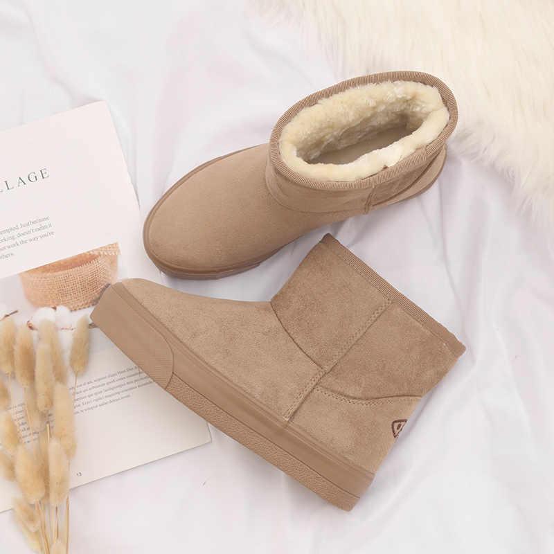 Новая зимняя женская обувь; замшевые теплые и удобные женские зимние сапоги без шнурков; женские мягкие сапоги