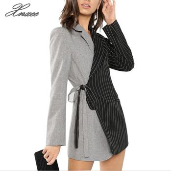 Autumn Women Blazers And Jackets Colorblock Tie Waist Surplice Wrap Womens Blazer Notched Outerwear Ladies Long Coat plus rolled tap sleeve surplice wrap striped top