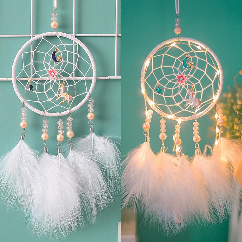 Us 2 77 24 Off Dreamcatcher Room Decoration Aerial Lighting Ornaments Birthday Gift Indian Style Mascot Wall Hanging Dream Catcher In Wind Chimes