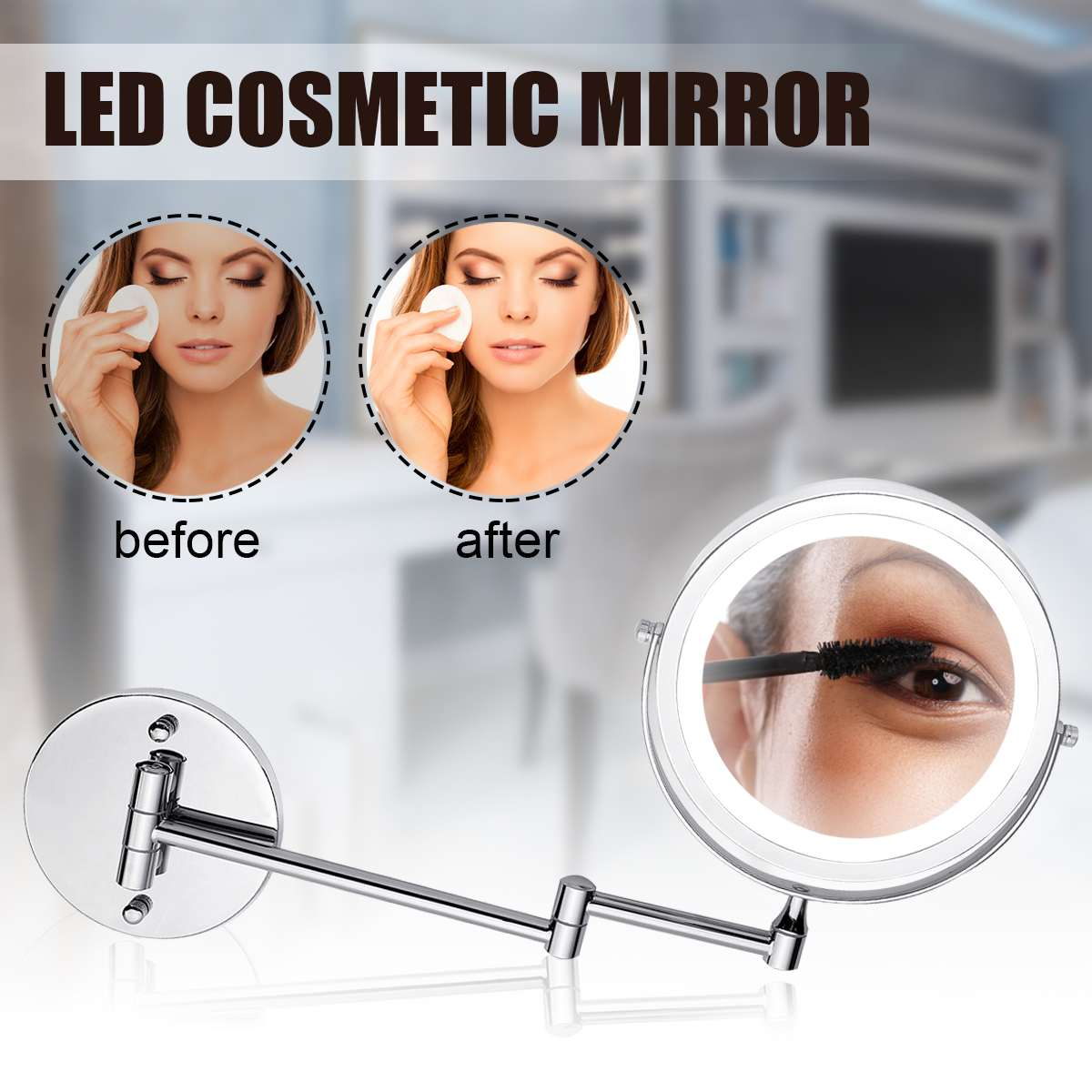 7 Makeup Vanity Mirror with Light LED 5X Magnification Mounted Telescopic Enlargement 2-Face Bathroom Wall Cosmetic Mirror7 Makeup Vanity Mirror with Light LED 5X Magnification Mounted Telescopic Enlargement 2-Face Bathroom Wall Cosmetic Mirror